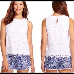 XS Lily Pulitzer White Cotton Lace Top